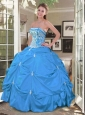 Hot Sale Aqua Blue Dresses For Quinceanera with Embroidery