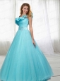 Inexpensive A-line One Shoulder Ruching Quinceanera Dress in Light Blue