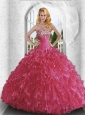 Inexpensive Sweetheart Red Quinceanera Dresses with Beading and Ruffles