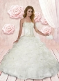 Luxurious Strapless White Quinceanera Dresses with Appliques and Ruffles