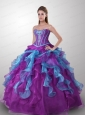 New Style Sweetheart Appliqued and Ruffled Quinceanera Dresses in Multi-color