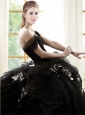 Off The Shoulder Ruffles and Hand Made Flowers Sweet 16 Dress in Black