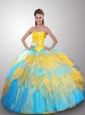 Popular Colorful Strapless Beaded Decorate Quinceanera Dress with Ruffles