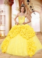 Popular Sweetheart Beading and Pick-ups Yellow Dresses for Quinceanera