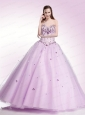 Sweetheart Tulle Beaded Decorate Quinceanera Dress in Lilac