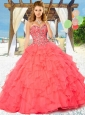 2015 Fashionable Coral Red Quinceanera Dresses with Appliques and Ruffles