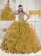 2015 Spring Sweetheart Brush Train Beading Gold Quinceanera Dress