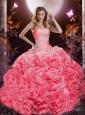 2015 Watermelon Red Sweet 16 Dress with Appliques and Ruffles