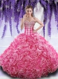 Rose Pink Sweetheart Quinceanera Gown with Beading and Ruffles