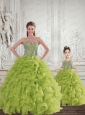New Style Beading and Ruffles   Princesita Dress in Yellow Green   for 2015
