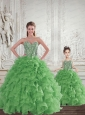 Remarkable Beading and Ruffles Green Princesita Dress for 2015 Spring