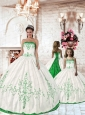 2015 Affordable Olive Green Embroidery Princesita Dress in White