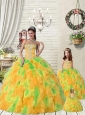Super Hot Ruffles and Beading Orange and Green Princesita Dress for 2015
