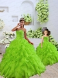 2015 Luxurious Beading and Ruffles Green Princesita Dress