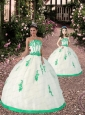 2015 Most Popular Appliques White and Green Princesita Dress