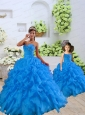 2015 Top Seller Beading and Ruffles Blue Princesita Dress