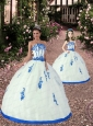 2015 Top Seller White and Blue Princesita Dress with Appliques