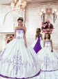 Customize Purple Embroidery White Princesita Dress for 2015