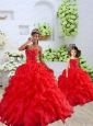 New Arrival Organza Coral Red Princesita Dress with Beading and Ruffles for 2015