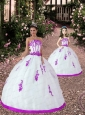 Popular Satin and Organza Appliques Princesita Dress in White and Fuchsia