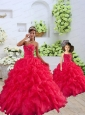 Coral Red Sweetheart Ruffles Organza Princesita Dress with Beading
