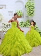 Custom Made Organza Beading and Ruffles Princesita Dress in Yellow Green