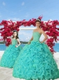 2015 Luxurious Turquoise Princesita Dress with Beading and Ruffles