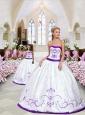 2015 New Style Embroidery White and Eggplant Purple Princesita Dress