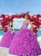 2015 New Style Fuchsia Princesita Dress with Beading and Ruffles