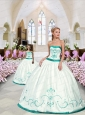 2015 Fashionable Embroidery Princesita Dress in White and Turquoise