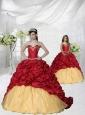 Appliques and Pick-ups Brush Train Princesita Dress in Wine Red