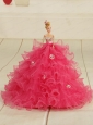 2015 Organza Bowknot Hot Pink Quinceanera Doll Dress