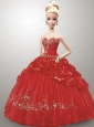 Appliques And Pick-ups Quinceanera Dress For Quinceanera Doll In Red