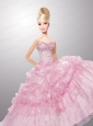 Baby Pink Quinceanera Dress For Quinceanera Doll With Pick-ups And Beading