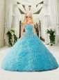 Beading And Ruffles Quinceanera Dress For Quinceanera Doll In Aqua Blue
