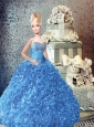 Beading And Ruffles Quinceanera Dress For Quinceanera Doll In Blue