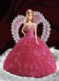 Beading And Ruffles Quinceanera Dress For Quinceanera Doll In Fuchsia
