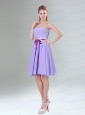 Decent Lavender Ruched Mini Length Prom Dresses with Bowknot Sash