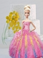 Multi-color Quinceanera Dress For Quinceanera Doll With Ruffles And Beading