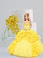 Yellow Quinceanera Dress For Quinceanera Doll With Pick-ups And Beading
