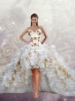 2015 Hot Sale Appliques and Ruffles White Prom Dresses
