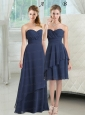 2015 New Style Sweetheart Ruching Prom Dresses in Navy Blue