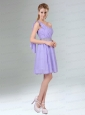 2015 Sassy Beaded and Ruched Short Prom Dress in Lavender
