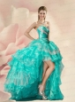 Decent Turquoise Prom Dresses with Beading and Ruffles