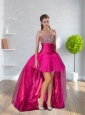 High-low Sweetheart Hot Pink Prom Dresses   With Beading