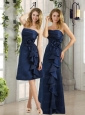 Navy Blue Ruching and Hand Made Flowers Prom Dresses