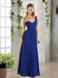 2015 Empire Ruching One Shoulder Prom Dress in Royal Blue