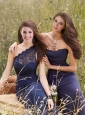 2015 New Style Navy Blue Lace and Ruching Prom Dress