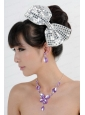 Alloy With Elegant Rhinestone Jewelry Set Including Necklace And Colorful Bowknot