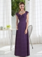 Empire 2015 Purple Ruching Prom Dresses with Cap Sleeves